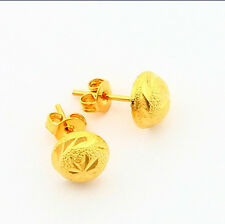 24K Yellow Gold Plated Fashion Jewelry Hat Half Ball Woman Earrings Stick JE001