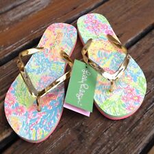 Lilly Pulitzer Pink Lovers Coral Sz 7 8 Pool Flip Flops Sandals Womens Shoes NEW