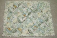 LL Bean Pillow Sham Standard Sz Quilted Green Off White Shabby Chic 100% Cotton