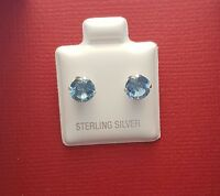 Sterling Silver CZ Blue 6mm Stud Earrings Aqua 925 Crystal round Cubic Zirconia