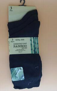 Pack 3 Pairs Ladies Black Luxury Bamboo ,Super Soft Extra Fine Socks Size 4-7