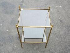 Bout de canapé ou sellette modèle bambou Maison Bagués en bronze plateaux vitre