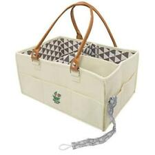 Caddy Organizer Tote Bag Car Changing Table Cream Gray Leather Shower Gift