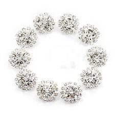 10pcs Crystal Diamante Pearl Flatback Embellishment Wedding Favours Decor 15mm