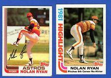 1982 Topps Baseball NOLAN RYAN 2 Card Lot #90 & #5 Highlights HOUSTON ASTROS HOF