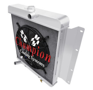 """2 Row BC Champion Radiator W/ 16"""" Fan for 1968 1969 Dodge D100 Pickup V8 Eng"""