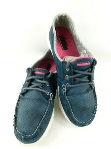 Skechers On-The-Go Women's Flagship Navy Blue Striped Boat Shoes Size 9 US