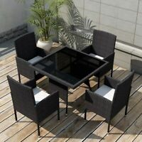 vidaXL Outdoor Dining Set Poly Rattan Wicker Black Garden Seater 4 Chair Table