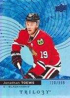 2017-18 Upper Deck Trilogy Hockey Blue #35 Jonathan Toews 720/999 Blackhawks