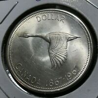 1967 CANADA SILVER  GOOSE DOLLAR BRILLIANT UNCIRCULATED CROWN