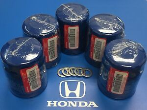 HONDA OEM Engine-Oil Filter 15400-PLM-A02 ,15400PLMA02 (Qty 5) + Drain Washers