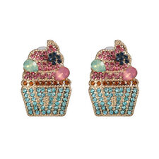 Personality Rhinestone Crystal Ice Cream Earrings Women Ear Stud Ornament Gifts