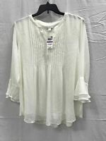 Charter Club Knit Doublr Ruffle Solid Pintuck Top White S
