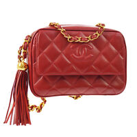 CHANEL Quilted CC Fringe Chain Shoulder Bag Red Leather GHW Authentic AK31438i