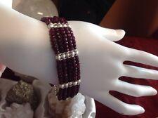 "Natural Ruby Gemstone Bracelet S 8"""