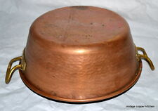 French vintage professional copper bowl huge jam pan hammered