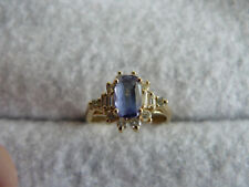 Fine Jewelry Real Tanzanite & Diamond 14Kt Yellow Gold Ring #56