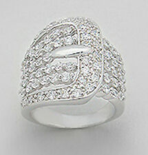 22mm Wide Solid Sterling Silver Stylish Buckle Cigar Band Ring Size 8 SPARKLING