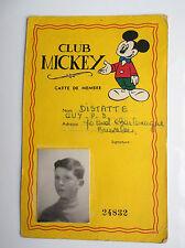 RARISSIME Carte de membre Club Mickey Années 50-60 Walt Disney