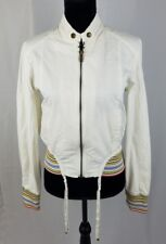 Firetrap women medium white zip up jacket wings embroidery