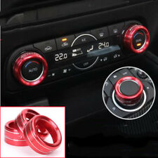 3PCS For Mazda CX-5 CX5 2017 2018 Red Air Condition Knobs Decorative Circle Trim