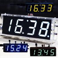 4-Digit LED Digital Desktop Clock Electronic DIY Kit Transparent Case C ZEA