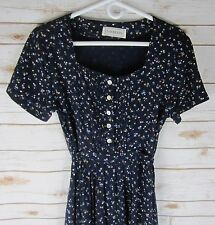Vtg S. Roberts Womens Medium Navy SS Calico Floral Pleated Rayon Prairie Dress