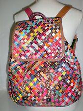 Groß Rainbow Ethno Flecht Rucksack Backpack Bag Leder Tasche Borsa Vintage Purse