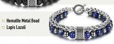 "Men's Natural Lapis Lazuli & Hematite Stainless Steel Stacking Bracelet 9"" Men"