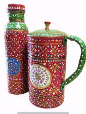 Meenakari Beautiful Printed Water Pot Jug Bottle Natural Ayurveda 100% Copper