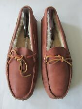 Eddie Bauer NEW Tan Brown  Leather Slip On Sherpa lined Moccasins Men's US 12M