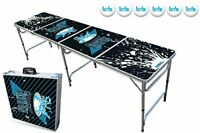 Foldable Beer Pong Table Convertible to Carrying Case - Party Edition (8ft)