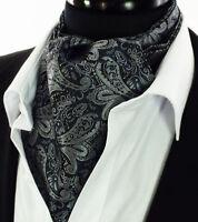 Paisley Mens Ascot Tie Black Silver Grey Scarf Silk Cravat A31