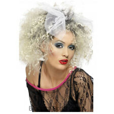 W292 Womens 80's Wild Child Party Costume Wig Blonde Madonna Short Curly w/ Bow