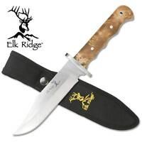 "Elk Ridge 10"" Maple Burl Wood Finger Groove Bowie Hunter Hunting Knife Fixed 101"