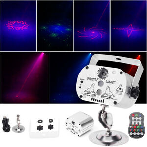 Mini RG Laser Stage Light RGB LED Projector Remote Bar Disco Home Party Club USB