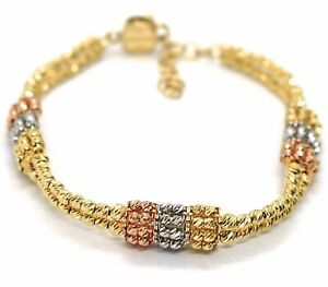 SOLID 18K YELLOW WHITE ROSE GOLD BRACELET, DOUBLE RAW DIAMOND CUT WORKED BALLS