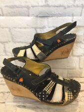 Women's THE ART COMPANY en cuir noir/Textile Talon Compensé Sandales Taille UK 5 EU38