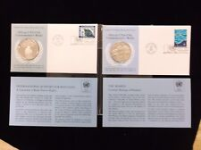 1971 UNA-USA Commemorative 2 Silver Proof Medal Set SEABED/ REFUGEES SUPPORT