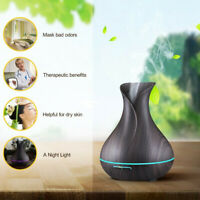 400ml Aroma Essential Oil Diffuser Ultrasonic Air Humidifier Wood Grain 7 Color