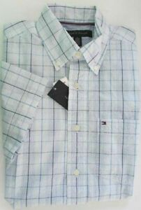 SALE NWT Tommy Hilfiger Short Sleeve Dress Shirt Seersucker Blue Check Size XS