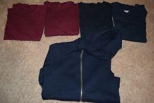 Lot of 4 boys uniform short sleeve shirts sz 10/12 & 1 zipper hoodie jacket sz 8