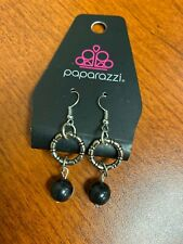 NeW Paparazzi dangle drop earrings Silver Black bead hypoallergenic Silver hooks