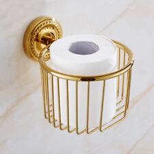 Luxury Gold Brass Toilet Paper Holder Wall Mount Tissue Paper Towel Rack Basket