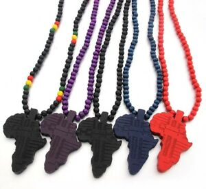 Africa Map Pendant Wood Necklace. Different Colours. Beads Wooden Ethnic Culture