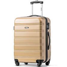 "Travel Trolley Suitcase Luggage Lightweight Hard Shell 4 Wheel Case 24"" Golden"