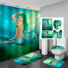 Green Mermaid Door Bath Mat Toilet Cover Rugs Shower Curtain Bathroom Decor