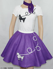 """3 PC Purple 50's Poodle Skirt outfit Girl Sizes 10,11,12,13 W 25""""-32"""" Length 23"""""""