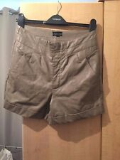 Topshop Beige / Brown / Grey Faux Leather Shorts UK 10