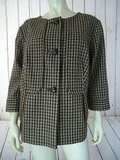 TALBOTS WOMAN Blazer 14W 16W Brown Wool Plaid Checks Button Front SWING RETRO